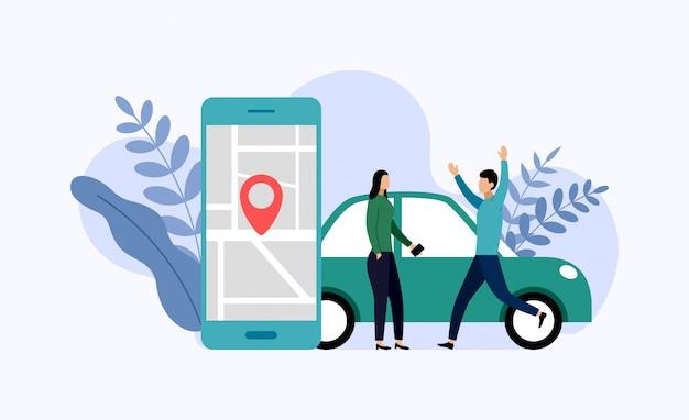 Servicio de coche compartido, transporte móvil de la ciudad, ilustración de vector de concepto de negocio