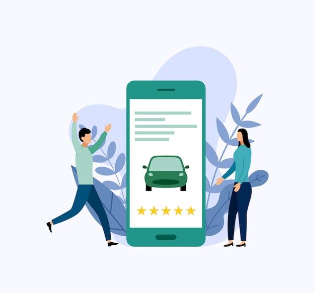 Servicio de coche compartido, transporte móvil por la ciudad.