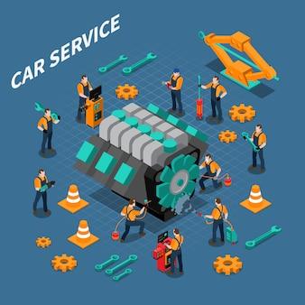 Servicio de coche composición isométrica