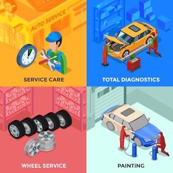 Servicio de coche conjunto de tarjetas isométricas