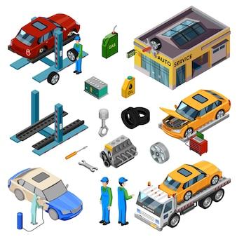 Servicio de coche elementos isométricos.