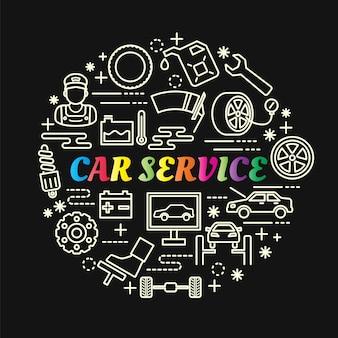 Servicio de coche gradiente colorido con iconos de línea