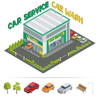 Servicio de coches lavado de edificio isométrico