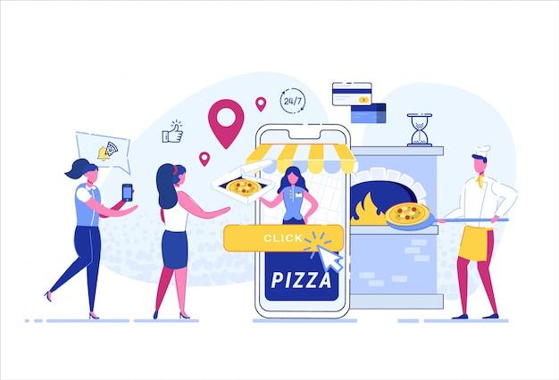 Servicio de comida a domicilio. aplicación movil.