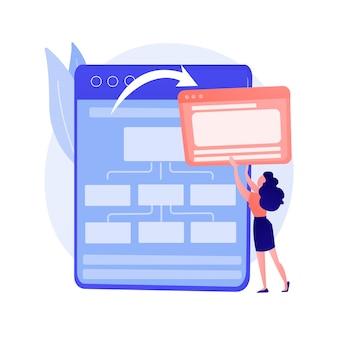 Servicio de computación en la nube, alojamiento web. información sincronizada, almacenamiento en línea, tecnología de respaldo. servidor de internet. ilustración de concepto de elemento de diseño de centro de datos en la nube