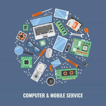 Servicio de computadora composición redonda con conjunto de iconos de colores compuesto en gran ilustración vectorial redonda