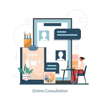 Servicio de consulta online con concepto interior er. decorador planificando el diseño de una habitación, eligiendo el color de la pared y el estilo de los muebles. renovación de la casa.
