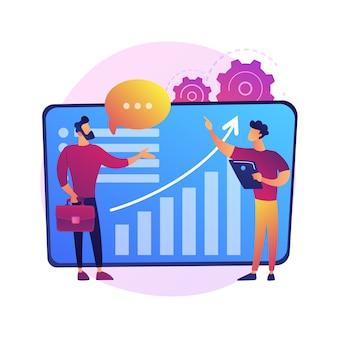 Servicio de consultoría, asesoría financiera, soporte experto. personajes de dibujos animados de empresaria y asesor. servicio de asistencia, asesoramiento empresarial vector ilustración de metáfora de concepto aislado