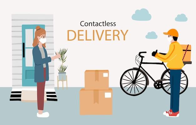 Servicio sin contacto de entrega en línea a domicilio, oficina en bicicleta. el repartidor advierte sobre la marca para prevenir el coronavirus