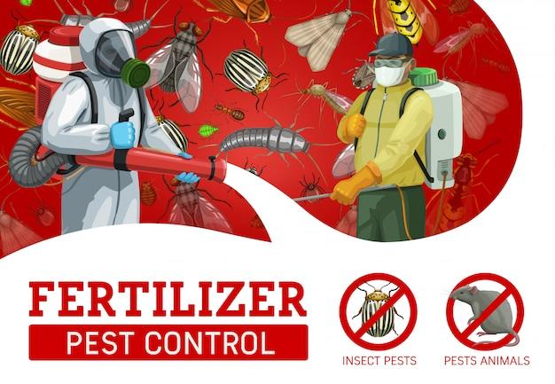 Servicio de control de plagas, trabajadores rociando insecticida