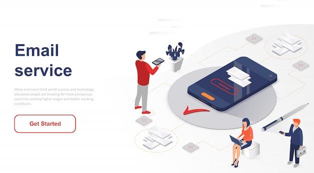 Servicio de correo electrónico isométrico de página de destino o aplicación móvil