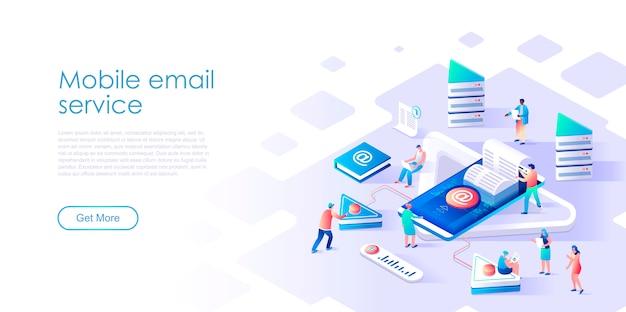 Servicio de correo electrónico de página de destino isométrica o concepto plano de aplicación móvil