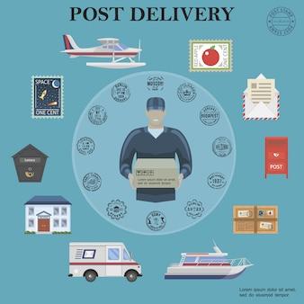 Servicio de correos plano composición redonda con cartero flotador avión van yate buzón postal paquete envoltorio carta sellos oficina de correos