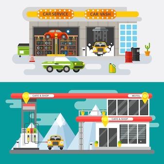 Servicio de coche de concepto plano y estación de servicio