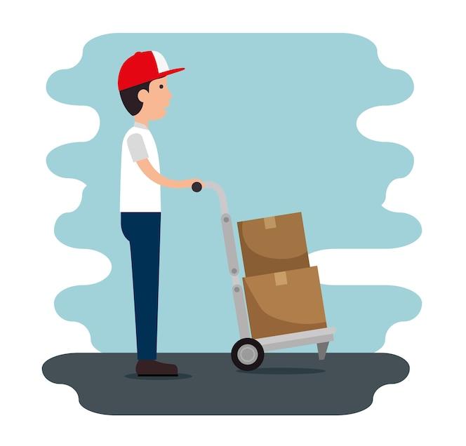 Servicio de entrega con caja de elevación de mensajería