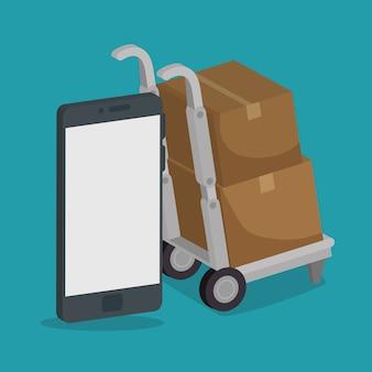 Servicio de entrega con diseño de ilustración vectorial smartphone