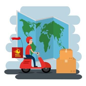 Servicio de entrega con servicio de mensajería en motocicleta