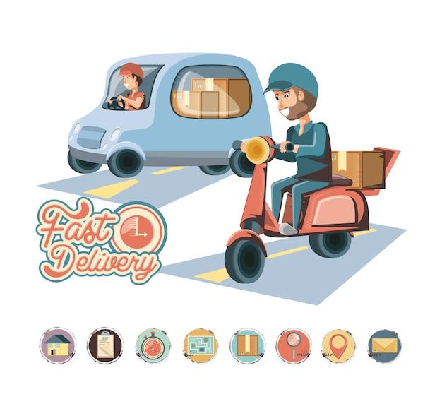 Servicio de entrega de mensajeros caracteres icono de ilustración vectorial