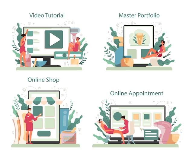 Servicio de depilación y depilación online o conjunto de plataformas. depilación