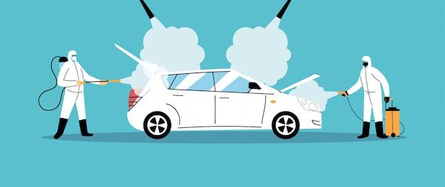 Servicio de desinfección de automóviles por coronavirus o covid 19