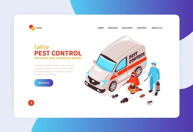 Servicio de desinfección de higiene de la casa de control de plagas concepto en línea banner isométrico de la página de inicio con llegada de especialistas