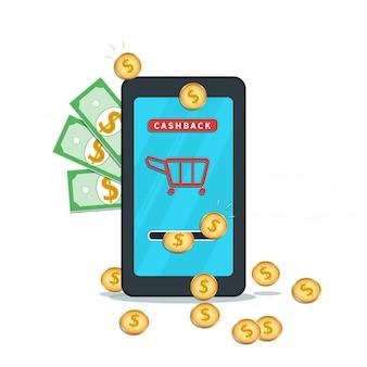 Servicio de devolución de dinero. ahorrando dinero pago en línea con la aplicación de billetera móvil.