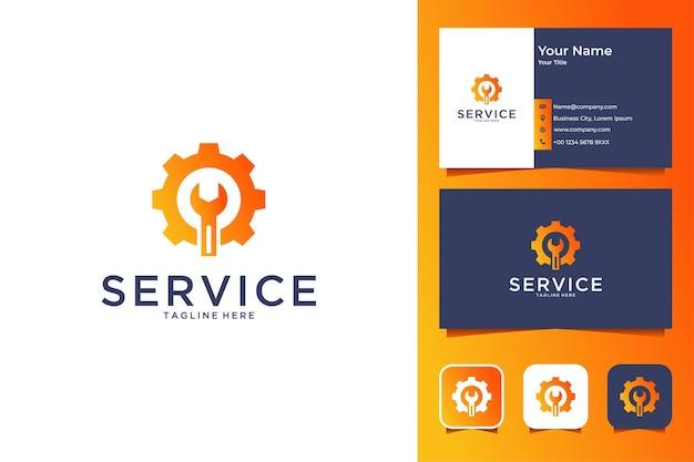 Servicio con diseño de logotipo de engranajes y herramientas y tarjeta de presentación.