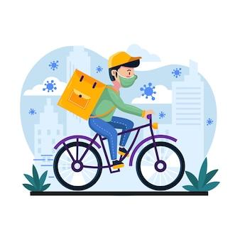 Servicio a domicilio con hombre en bicicleta
