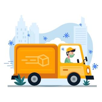 Servicio a domicilio con hombre en camión y mascarilla