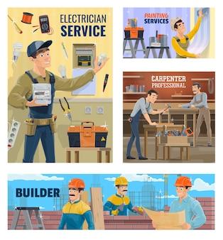 Servicio de electricista y pintura, estandarte de constructor y carpintero