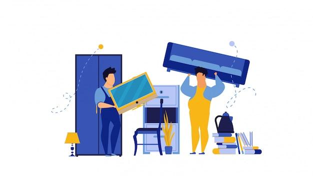 Servicio de embalaje personas muebles ilustración trabajador hombre.