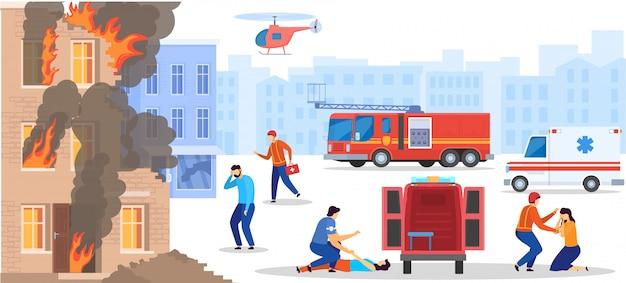 Servicio de emergencia rescatar a personas de la casa en llamas destruida, médico ayuda a la víctima, ilustración