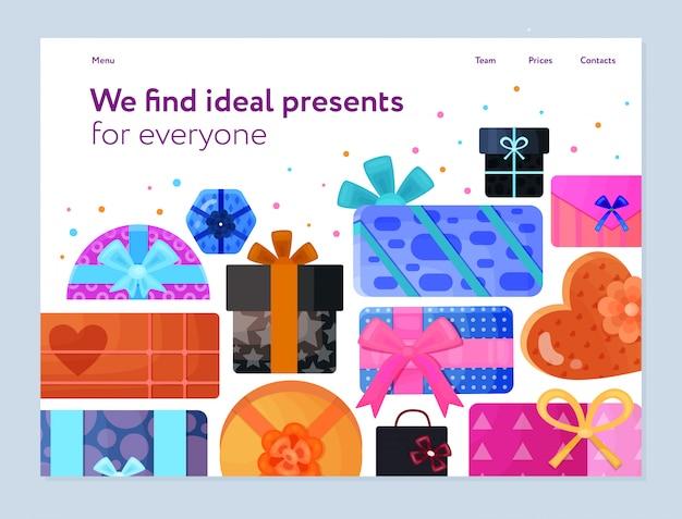 Servicio de empaquetado de regalos banner plano con cintas de papel de regalo coloridas cajas de forma rectangular de corazón redondo