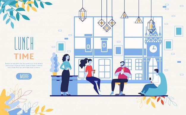 Servicio de entrega de alimentos de oficina vector web banner