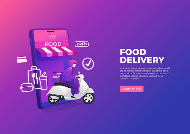 Servicio de entrega de alimentos en scooter en banner de teléfono móvil.