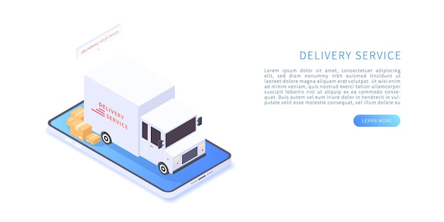 Servicio de entrega en aplicación móvil en renderizado 3d