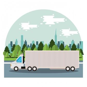 Servicio de entrega de camiones en la escena de la ciudad.