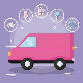 Servicio de entrega de camionetas con conjunto de iconos.