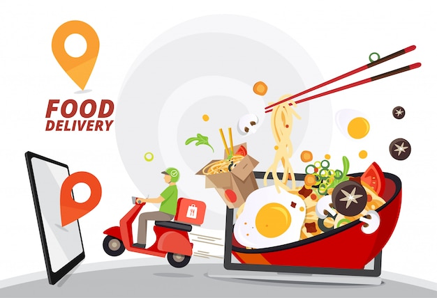Servicio de entrega de comida, entrega de comida rápida, servicio de entrega de scooter, ilustración