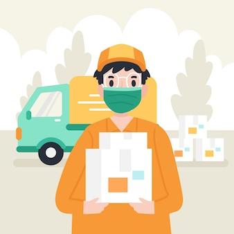 Servicio de entrega con concepto de máscara