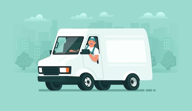 Servicio de entrega un conductor masculino en uniforme viaja en una camioneta con el telón de fondo del transportista de la ciudad