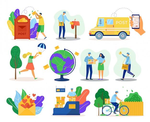 Servicio de entrega de correo, mensajería en uniforme con paquete, ilustración de clientes. entrega de transporte, cartero en bicicleta, buzón de correo, envío global y correspondencia de pedidos online.