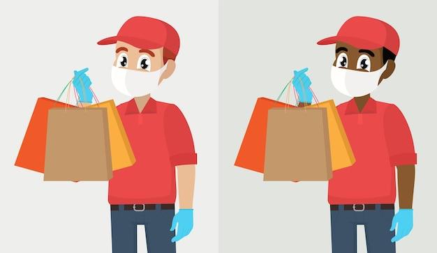 Servicio de entrega durante la cuarentena. repartidor o mensajero con máscara médica de seguridad brote epidémico de covid