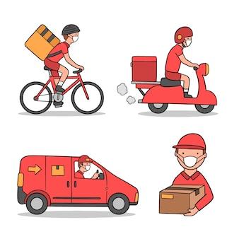 Servicio de entrega con diseño de ilustración de máscara
