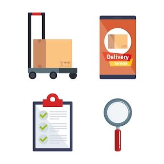 Servicio de entrega establecido iconos