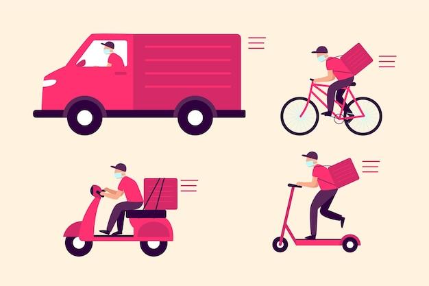 Servicio de entrega con estilo de ilustración de máscara