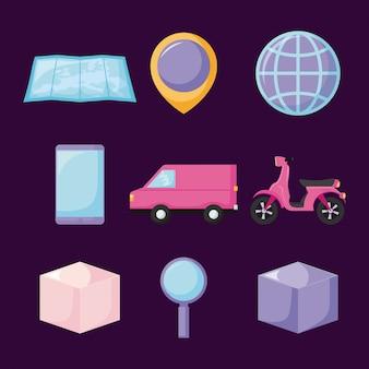 Servicio de entrega de furgoneta con set de iconos.