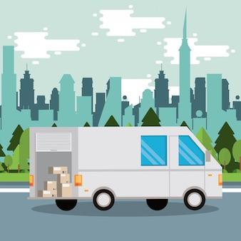 Servicio de entrega de furgonetas en la escena de la ciudad.