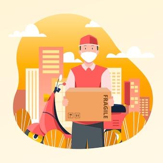 Servicio de entrega con ilustración del concepto de máscara