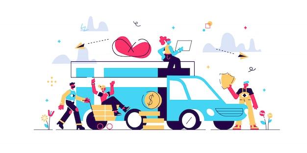 Servicio de entrega de ilustración plana. compras en línea, camiones que transportan diferentes archivos, camiones, publicidad de transporte